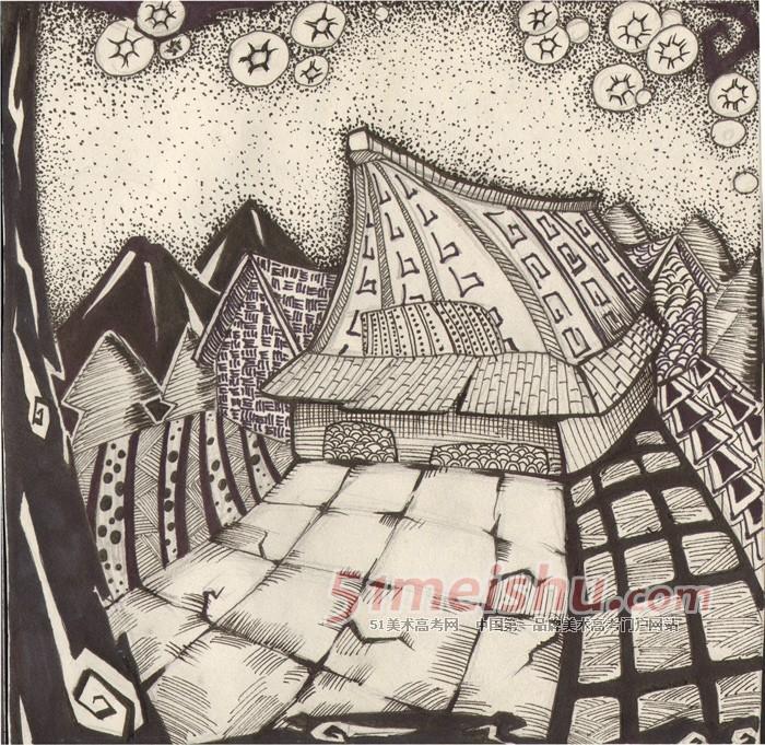 黑白装饰画学生作品