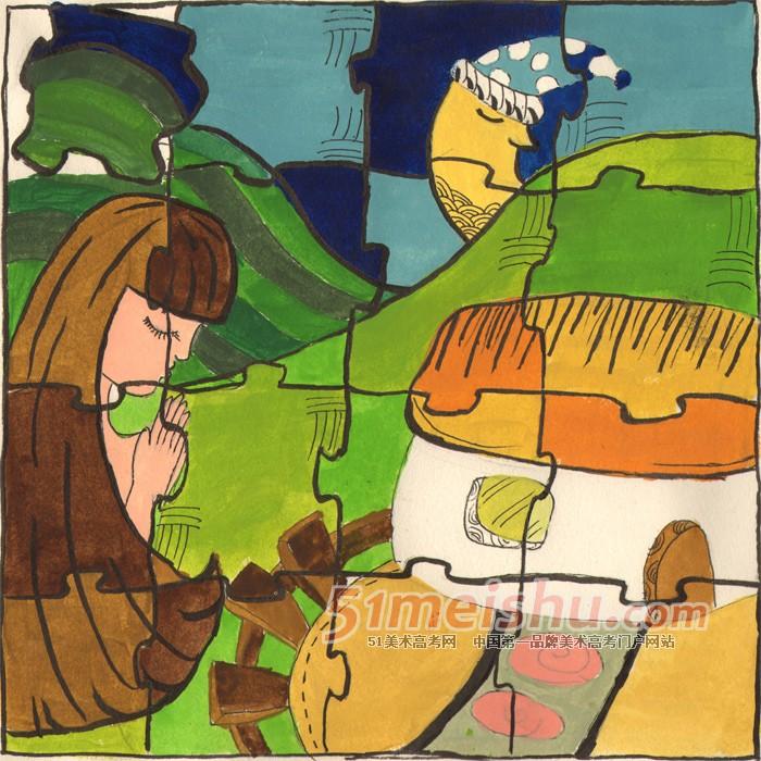 彩色装饰画学生作品欣赏